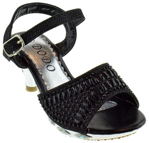 4e7c64eeedf86 150-8GKM Little Girls Rhinestone Heel Platform Dress Sandals Black 9