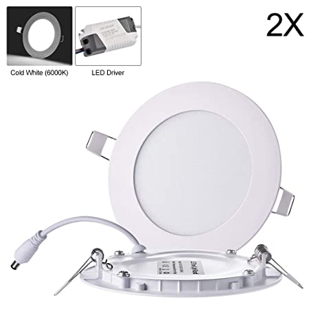 Luces de techo empotradas LED ultra delgadas de 2Pack, 9W Luces de panel redondo,