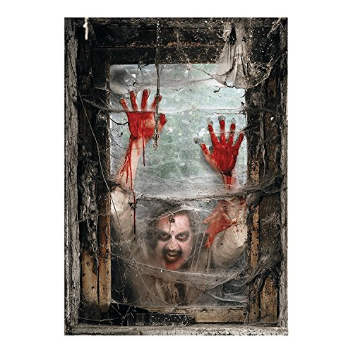 Fun Express Zombie Window Backdrop Banner (4 Pieces) -