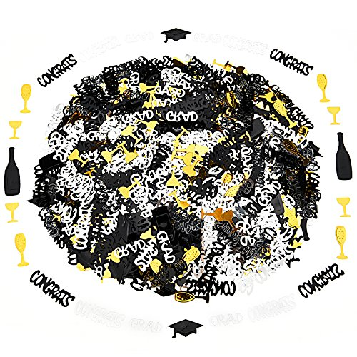 - 6 Pack Confetti Graduation Party Decoration -Graduation Hats, Balck CONGRSTS, Silver CONGRSTS, Gold Wine Glass, Champagne and Gold CRAD, Graduations Decorations 2018