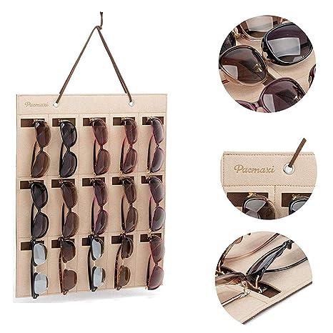 Cokeymove - Organizador de Gafas de Sol Fijo en la Pared para Almacenamiento en el Armario, Expositor de Gafas Colgante con 15 Ranuras de Tela de ...