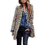 HGWXX7 Womens Casual Leopard Oversize Winter Warm Button Cardigan Jacket Long Trench Coats