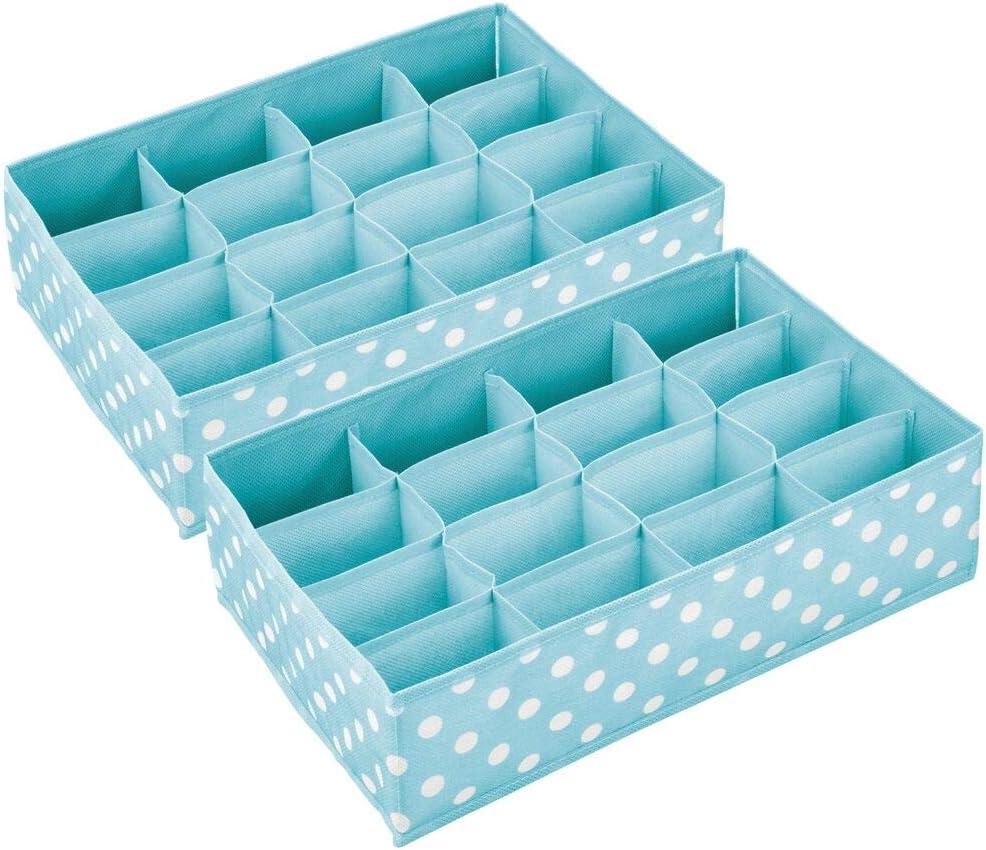 Organizadores de armarios con 16 Compartimentos mDesign Caja de almacenaje para Habitaciones Infantiles o ba/ños Gris Claro//Blanco Cestas organizadoras en Fibra sint/ética de Lunares