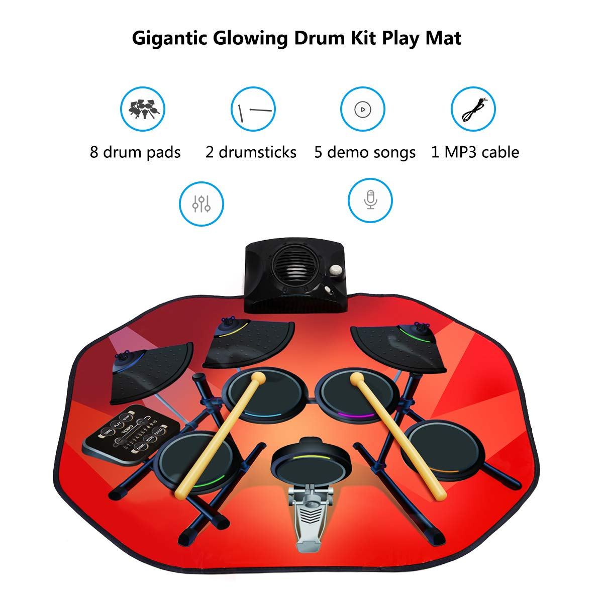 Costzon Electronic Drum Mat, 8 Keys Glowing Music Mat with LED Lights,MP3 Cable, Drumsticks, Support Play - Study-Record - Playback - Demo 5 Modes, Volume Control by Costzon (Image #3)
