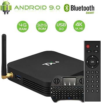 Android 9.0 TV Box【4G+32G】 TX6 Allwinner H6 Quad-Core 64bit Wi-Fi-Dual 5G/2.4G,BT 4.1, 4K*2K UHD H.265, HDMI, USB 3.0 Smart TV Box con Mini Teclado inalámbirco: Amazon.es: Electrónica