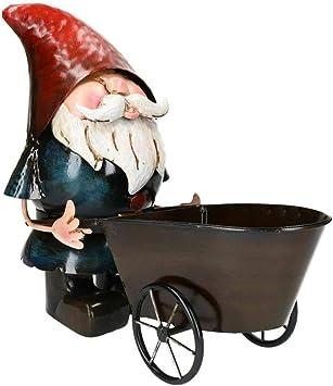 Adorno de carretilla de metal pintado a mano con forma de gnomo para jardín: Amazon.es: Bricolaje y herramientas