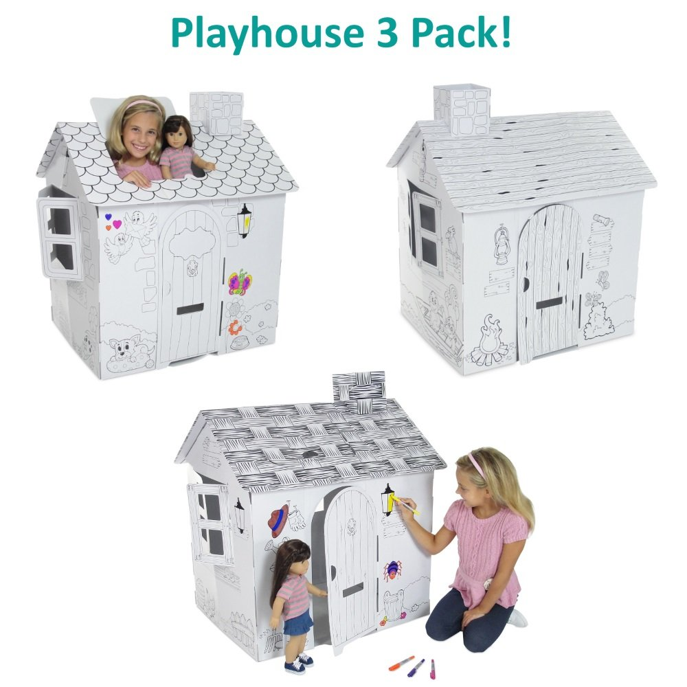 Emily Rose Doll Clothes Variety 3 Pack Value - Dollhouse or Kid's Play Houses, Ready to Paint and Decorate | Great Party Activity!