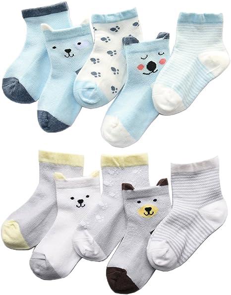 Z-Chen Calcetines de Verano para bebé niño niña (Pack de 10), 0-1 años, Set 1: Amazon.es: Bebé
