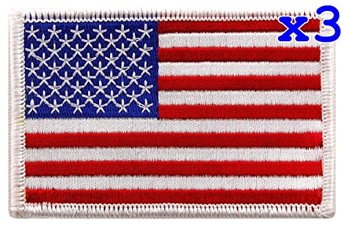 Pack of 3 USA US American Flag Logo Embroidered Patch Sew on Iron On Applique 3.4
