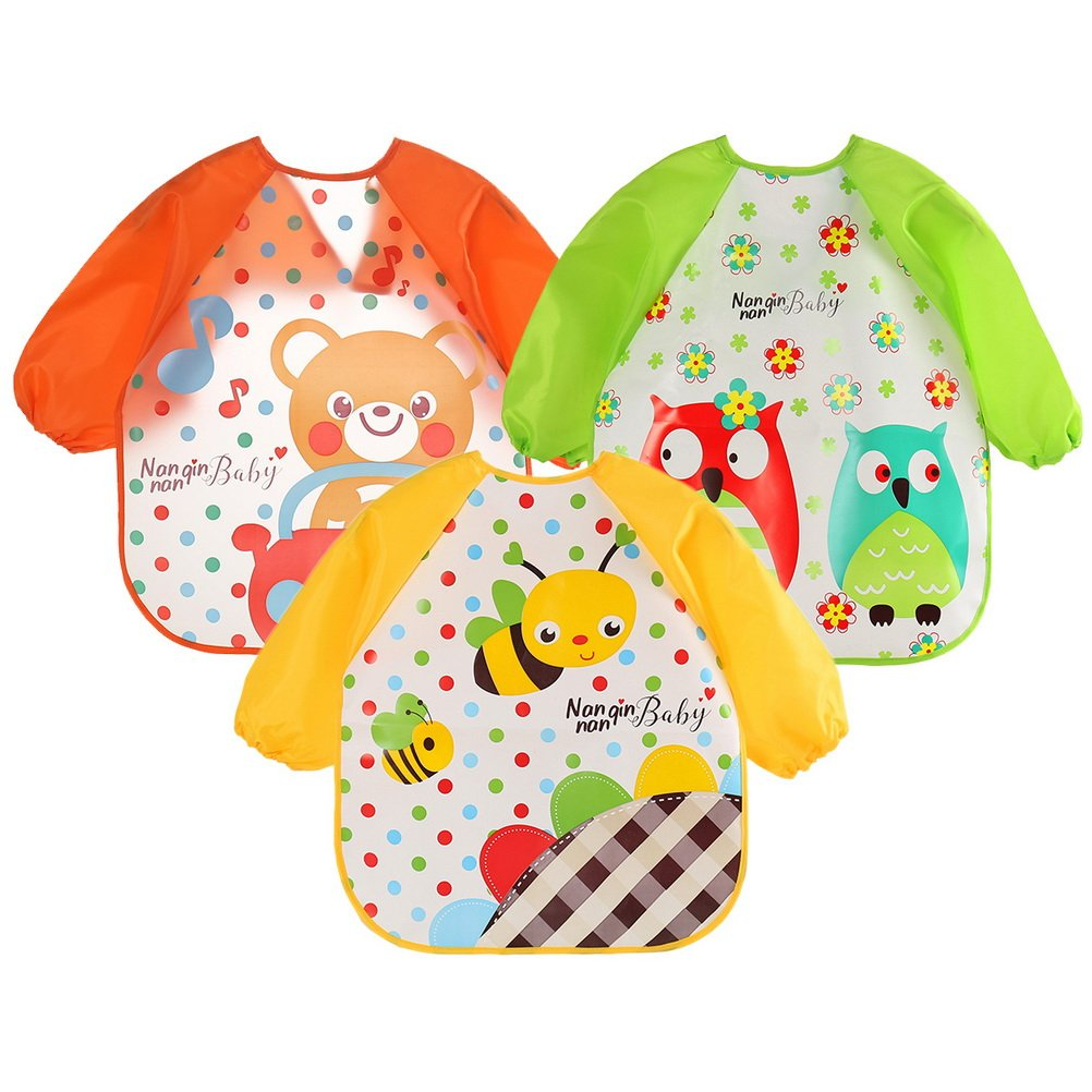 Siming 3 Pack Baby Apron, Unisex Waterproof Bib Long Sleeved Bibs Feeding Bibs for Infant Toddler 6 months to 3 years old