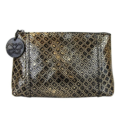 Bottega Veneta Intrecciomirage Gold/Black Leather Clutch Pouch Bag 301201 8414