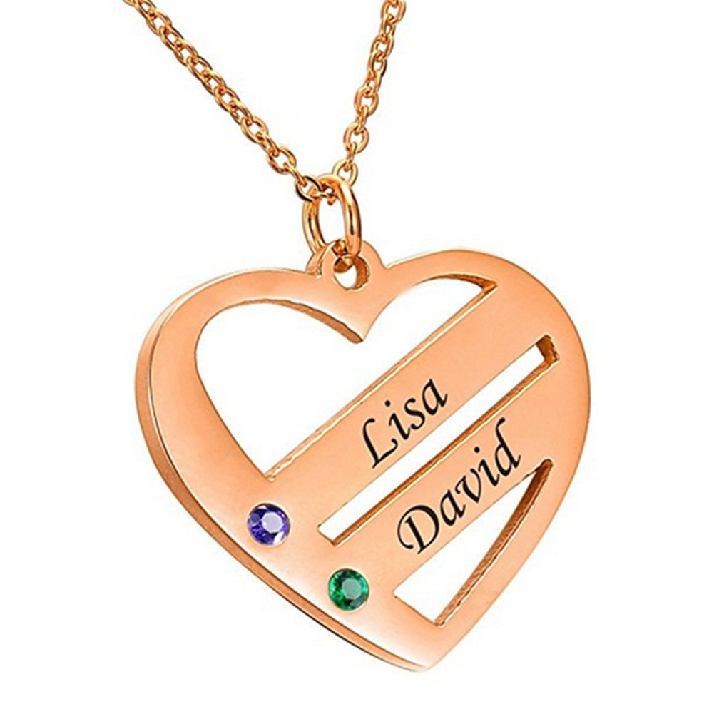 Junmei Personalised Family Moms Necklace with Birthstones Heart Necklace Custom Sterling Silver Jewelry with 2 Names and 2 Birthstones