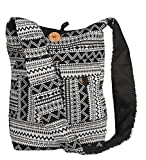 Tribe Azure Large Hobo Crossbody Sling Shoulder Bag Compartment Pockets Functional Zipper Travel Market Books Blanket (Black White)