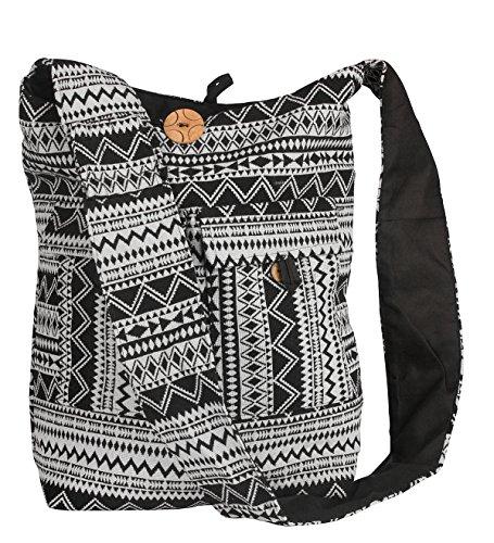 Tribe Azure Large Hobo Crossbody Sling Shoulder Bag Compartment Pockets Functional Zipper Travel Market Books Blanket (Black White) by Tribe Azure Fair Trade