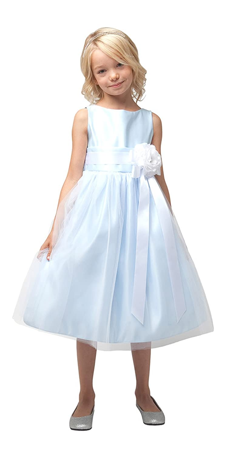 Sweet kids Girls Vintage Satin Tulle Special Occasion 8 Flower Sk-402-LG