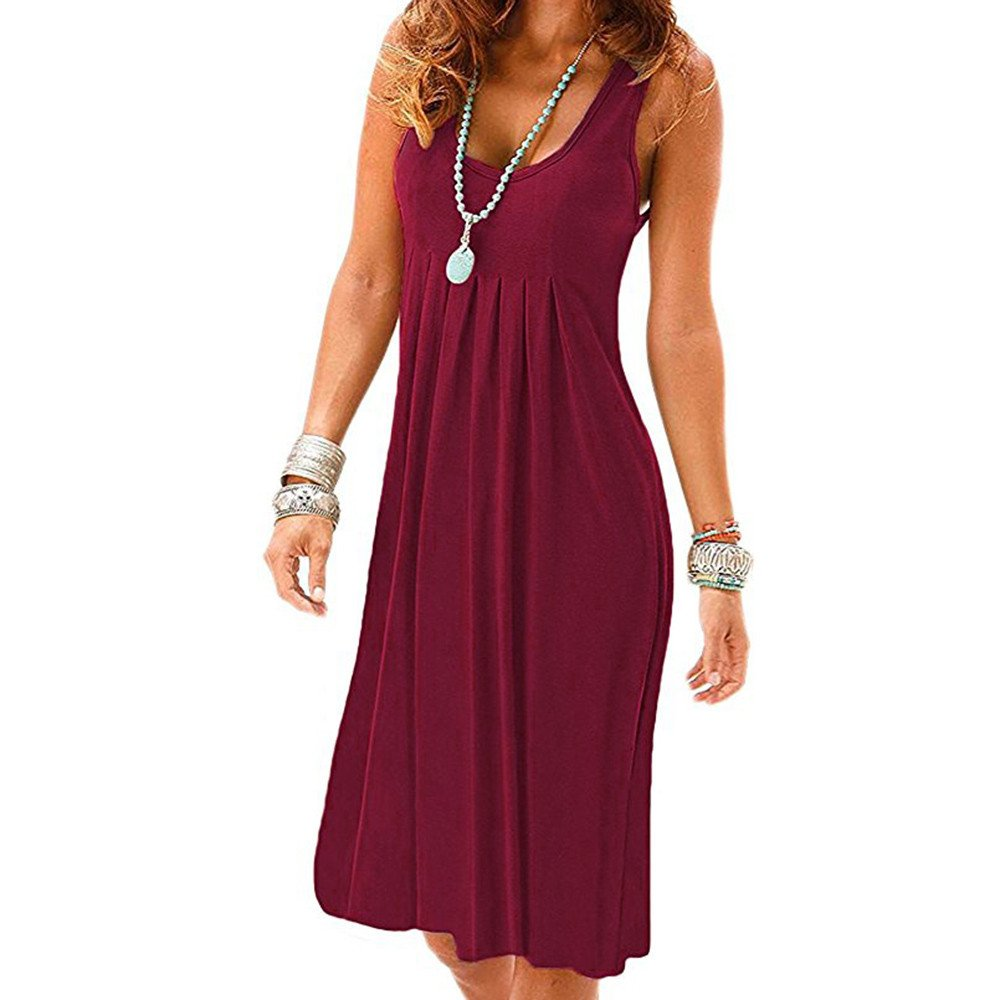 Women Casual Dress Swing Sleeveless Sexy Simple Round Neck T-Shirt Loose Dresses (S, Wine Red)