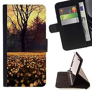 For Sony Xperia Style T3 Case , Árbol Cielo lluvia de la mañana la salida del sol- la tarjeta de Crédito Slots PU Funda de cuero Monedero caso cubierta de piel