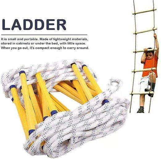 CARLAMPCR Cuerda de Escalada de Nylon de 5 m, Escalera de Rescate, Escalera de Escape, Escalera de Trabajo aéreo, Peso de Transporte 450 kg con Ganchos para Rescate, montañismo, Camping,10m: Amazon.es: Jardín