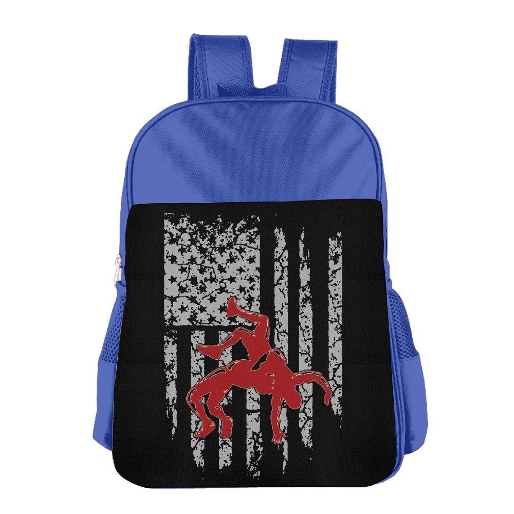 MUtang SHU Wrestling American Flag School Backpacks For Boys Girls RoyalBlue