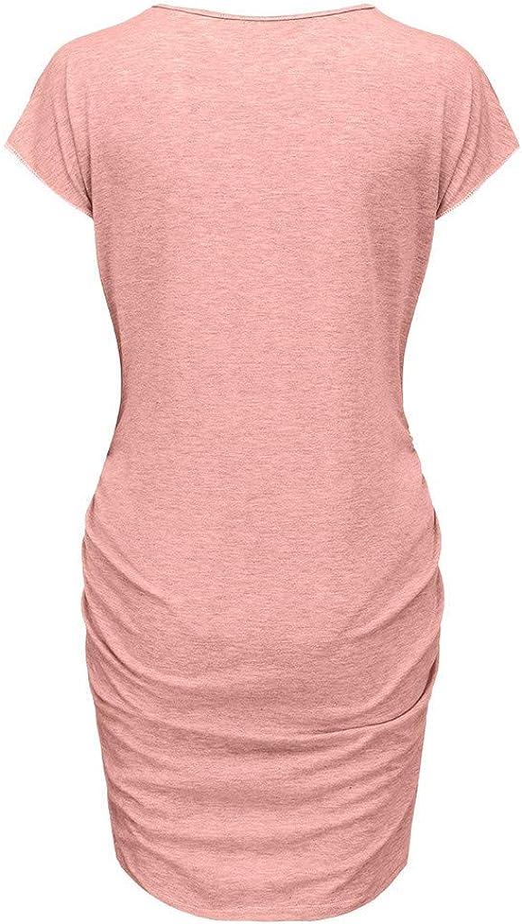 Juliyues Umstandskleid Sommer Damen Print Schwangerschafts Kleid Freizeit Umstandskleid Shirtkleid Sommerkleid Mutterschafts Kleider Umstandsmode