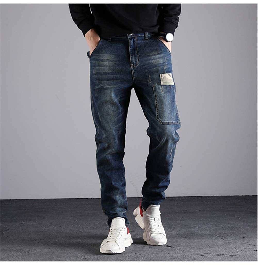 Newnorthstar Mens Jeans 2019 Spring Trend Camouflage Stitching Elastic Harlan Trousers Male