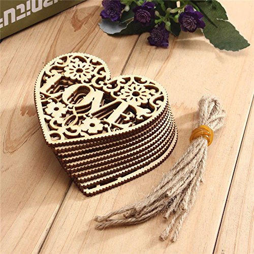Romantic 10pcs/set Love Heart Shapes Wooden Embellishment Christmas Tree Hanging Ornament for Tags Card Scrapbooking
