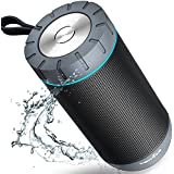 COMISO Waterproof Bluetooth Speakers Outdoor Wireless Portable Speaker with 24 Hours Playtime Superior Sound for Camping, Beach, Sports, Pool Party, Shower (Black)