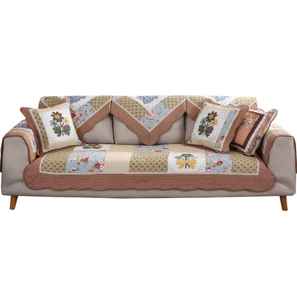 LJ-SFJ Algodón Toalla de sofá Antideslizante Acolchado Funda para sofá Máquina Lavable, Fundas para el Asiento del sofá Brazo de sofá, 1 Pieza Varios tamaños-A 110x240cm(43x94inch)