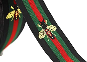 a542478f083743 10 Yards 1.18 inches ed/Green/Black Striped Ribbon Trim with bee, Jacquard