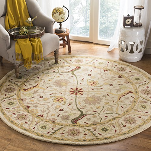 Safavieh Antiquities Collection AT14A Handmade Traditional Oriental Ivory Wool Round Area Rug (6