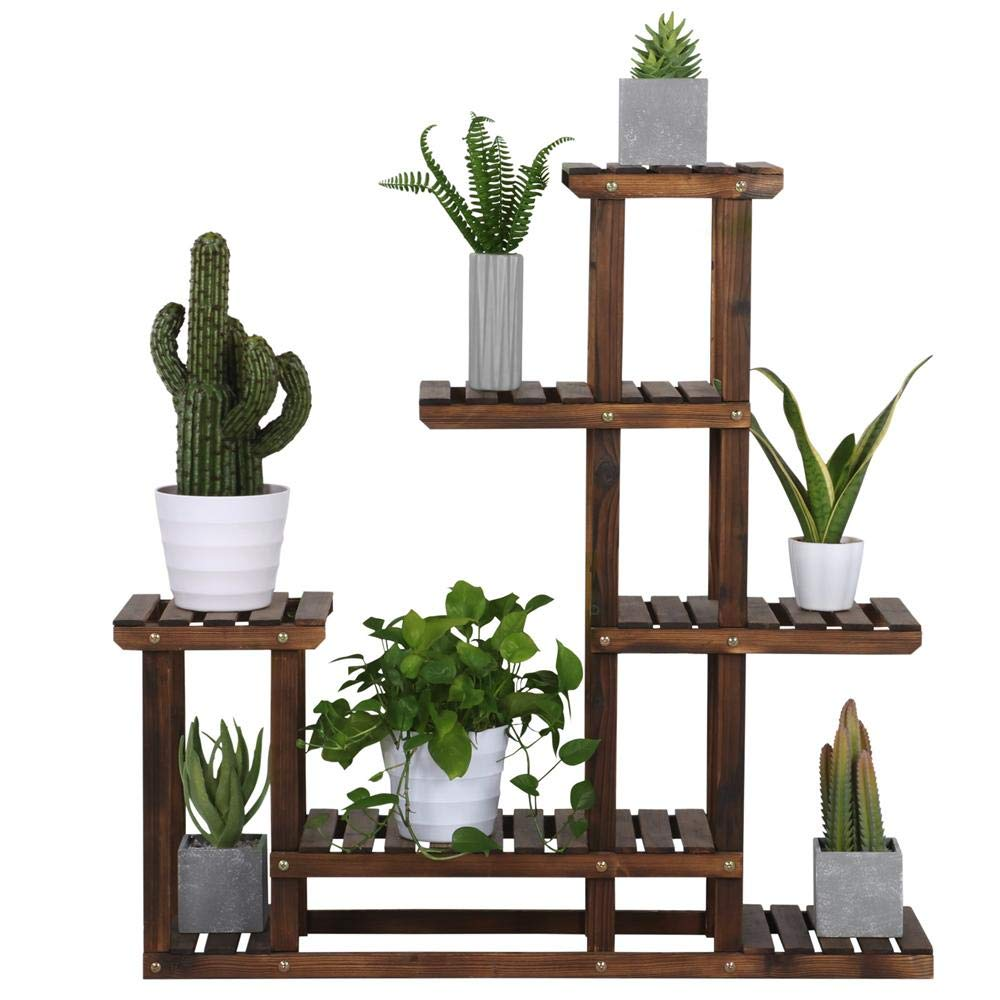 Yaheetech Tiered Wood Plant Flower Stand Shelf Pots Shelves Rack Holder for Multiple Plants Indoor Outdoor Garden Patio 38.2 x 37.8 x 9.8/'/'