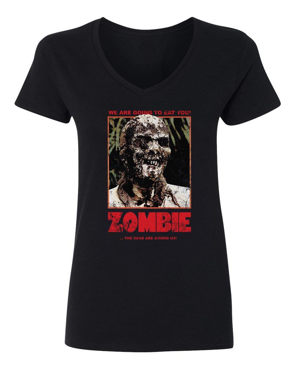New Novelty Tee Vintage 70s Horror Movie Zombie Vneck Tshirt