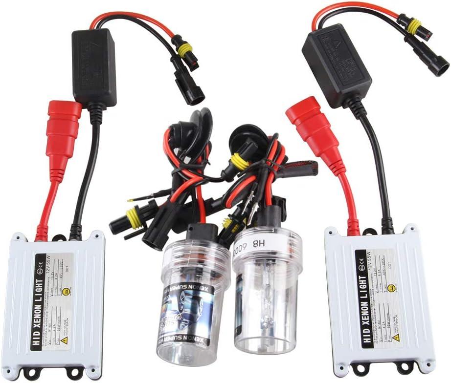 Chemini H1 HID Xenon Headlight Conversion Kit 6000K Xenon White 55W Slim Digital HID Ballast For Car High//Low Beam Headlight Lights