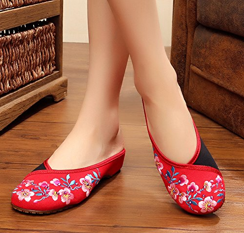 AvaCostume Slipper Shoes Peach Drilling Embroidery Womens Flats Blossom Red Hot rw107rqZx