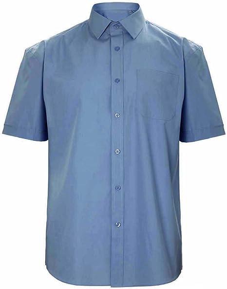 RUSSELL COLLECTION MEN/'S SHIRT SHORT SLEEVE POCKET SMART WORK COLLAR ALL SIZES
