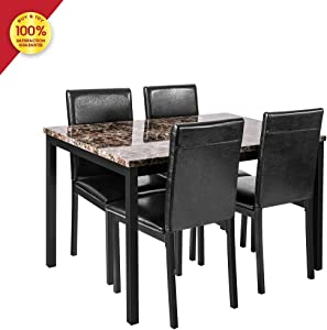 DKLGG Faux Marble Dining Set for Small Spaces Kitchen 4 Table with Chairs Home Furniture, Black
