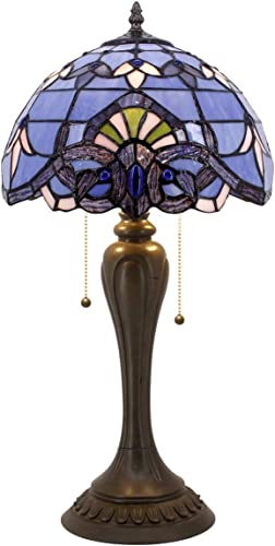 Blue Purple Baroque Tiffany Style Table Lamp Lighting W12H22 Inch Lavender Stained Glass Lampshade S003C WERFACTORY Lamps Lover Friends Kids Living Room Bedroom Bedside Desk Antique Art Crafts Gift
