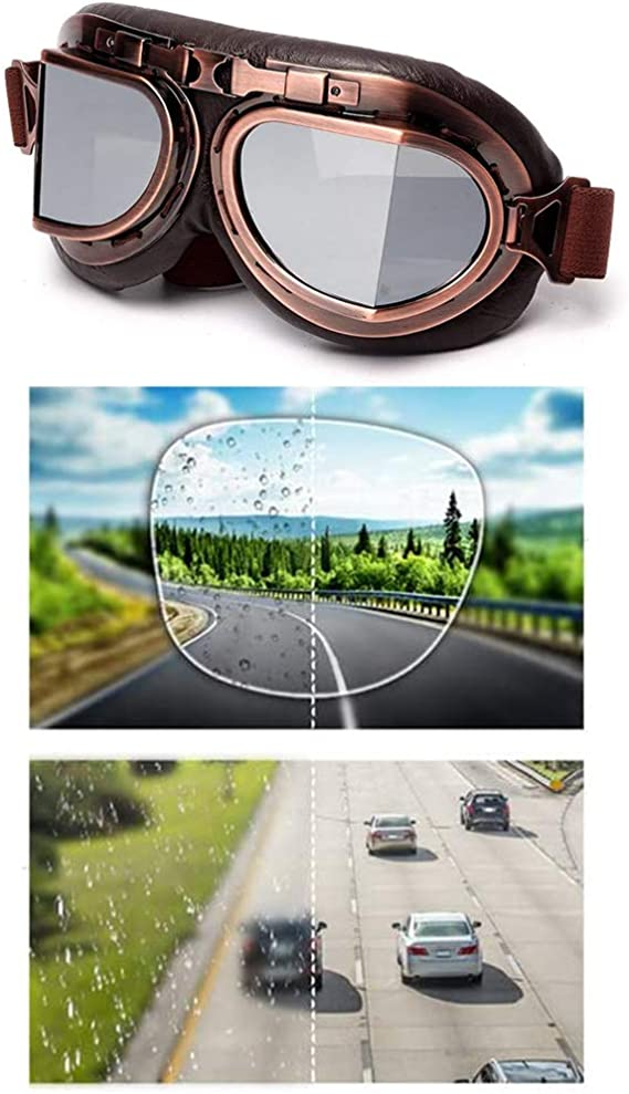 League Co League Co Retrodesign Motorradbrille Pilotenbrille Schutzbrille Fliegerbrille Helm Brillen Silber Auto