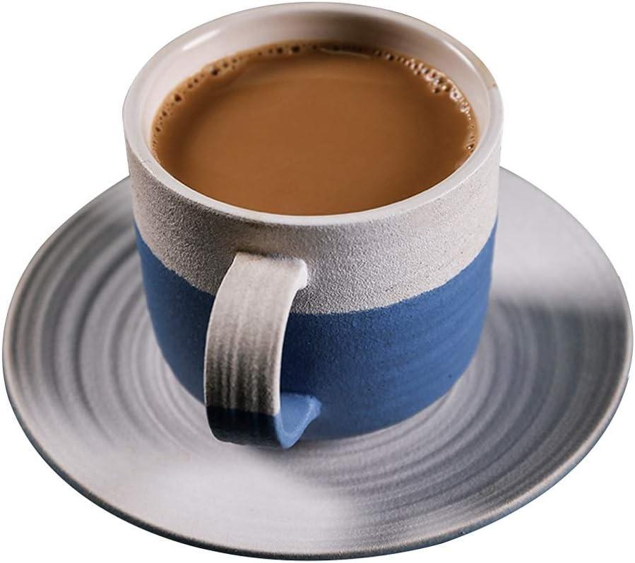 Tazas de te Grandes Taza de té de la Tarde de café de cerámica con Juego de platillos 8.8 oz / 250 ml, Taza de Leche Creative Vintage para Oficina y hogar,