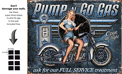 Shop72 - Pump And Go Gas Tin Sign Retro Vintage Distrssed - With Sticky Stripes No Damage to Walls (Pump Gas Signs)