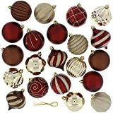 Festive 52 Piece Assorted Bauble Christmas Ornament Set, Maroon & Gold
