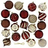 Festive 52pc Bauble Christmas Tree Ball Ornaments Maroon & Gold (Small Image)