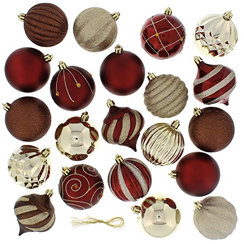 Festive 52 Piece Assorted Bauble Christmas Ornament Set, Maroon & -