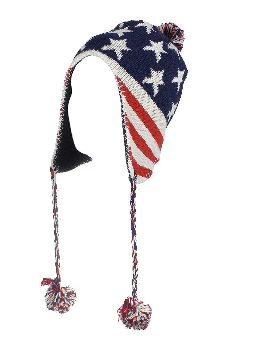Amazon.com: Nordic Insulated Red White & Blue Knit Hat with Ear ...
