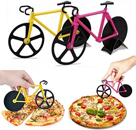 Stainless Steel Bicycle Pizza Cutter Bike Dual Slicer Chopper Home Kitchen
