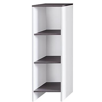 trendteam smart living Badezimmer Schrank Regalelement California, 32 x 103  x 28 cm in Weiß, Absetzung Rauchsilber mit viel Stauraum