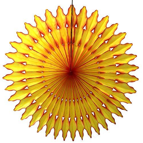 - Summer Sun Themed Extra-Large 27 Inch Tissue Paper Sunburst Fan Party Decoration (1 Fan)