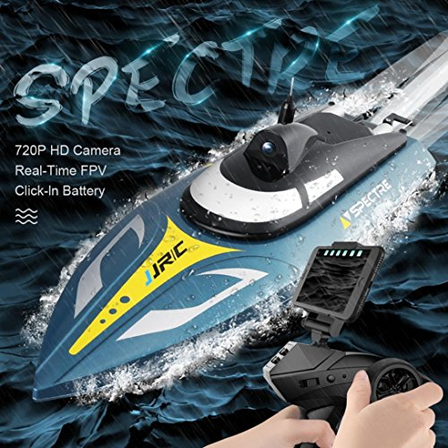 Mikey Store RC Boat Pool Toys, JJRC S4 720P WiFi FPVRC Barco 25 km/h Velocidad Carreras Control Remoto de Aire Juguete RC...