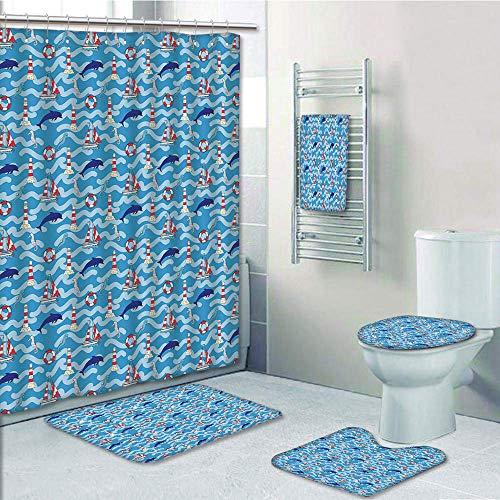 (Bathroom 5 Piece Set Shower Curtain 3D Print,Lighthouse,Wavy Lines Aquatic Elements Dolphins Seahorses and Boats Marine Summer,Blue Navy Blue Red,Bath Mat,Bathroom Carpet Rug,Non-Slip,Bath Towls)