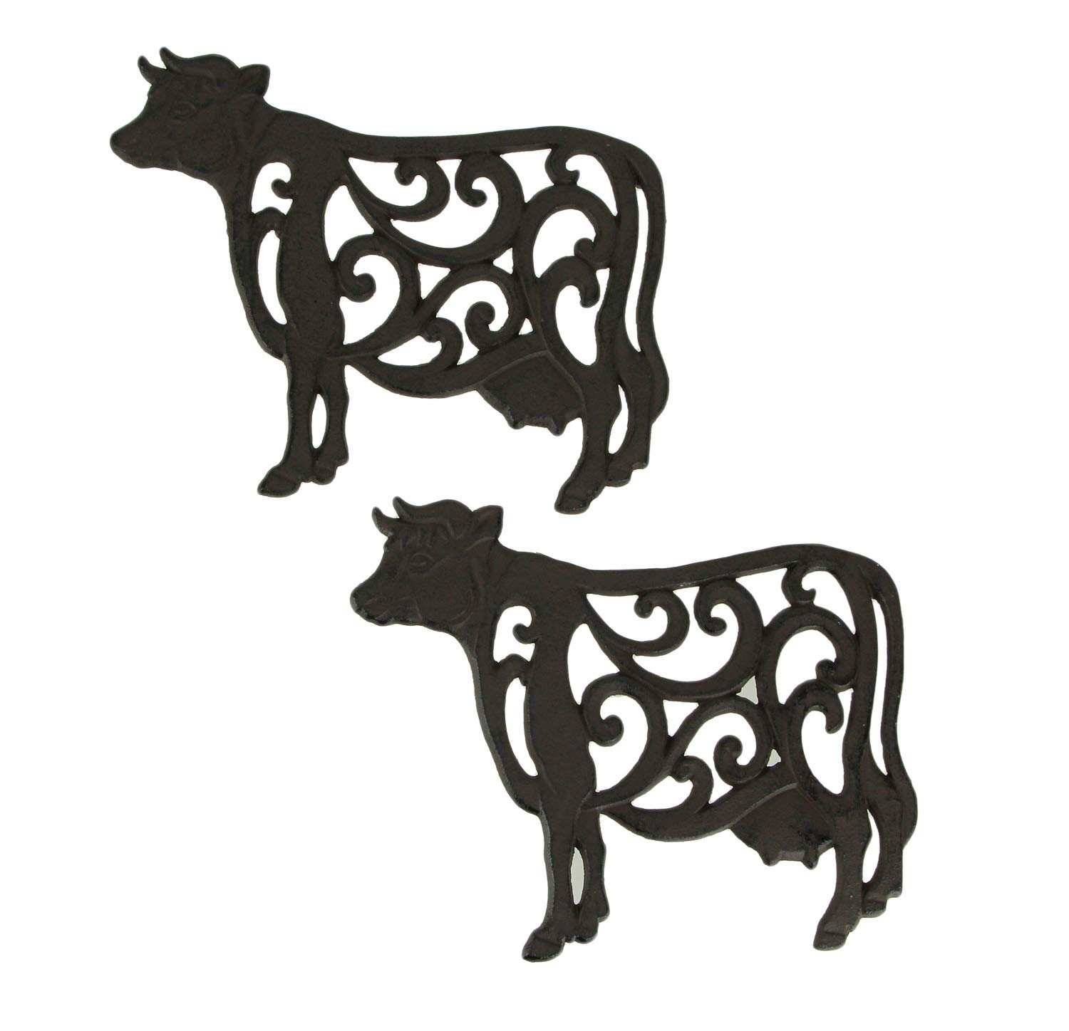 Brown Cast Iron Cow Floral Scroll Trivets Set of 2 by DeLeon Collections